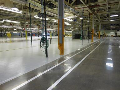 Automotive Factory, polished floor system.