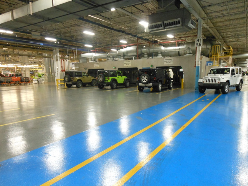 Polished flooring of an auto manufacturer